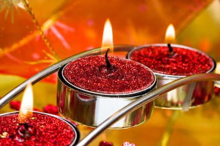 Red festive candles with ribbon Stock Photo - 4161032