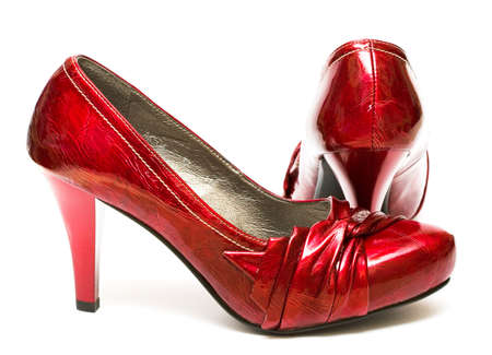 red womanish shoes isolated on white background  Stock Photo - 4266415