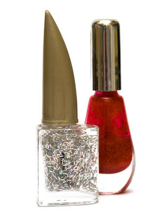 fangle: silver and red nail polish