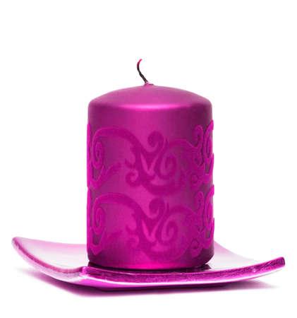 pink burning candle on white background Stock Photo - 4342424