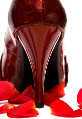 girl in red dress: heel of womanish shoe with rose petals  Stock Photo