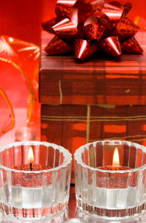 festive candles with gift box  Stock Photo - 4348423