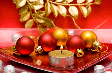 festive candle with Christmas balls   Stock Photo - 4348427