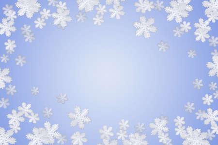 nakładki: niebieskim tle płatek śniegu zimą i ramki Zdjęcie Seryjne