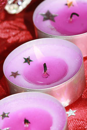 pink festive candles with decoration  Stock Photo - 4389410