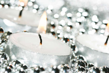 white festive candles with decoration Stock Photo - 4389409