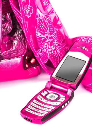 womanish: womanish handbag, scarf and mobile phone