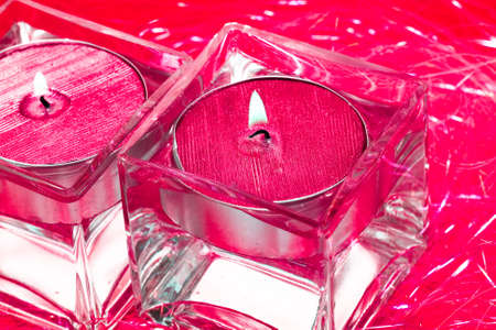 red candles in glass with water Stock Photo - 4464473