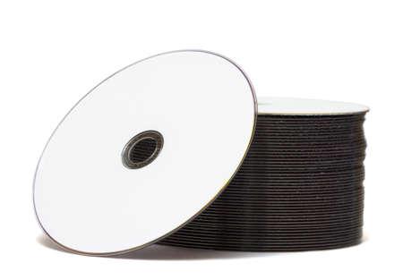 gigabytes: stack of Cd or DVD roms isolated on white background