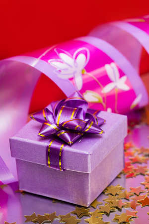 violet gift box with ribbon  photo