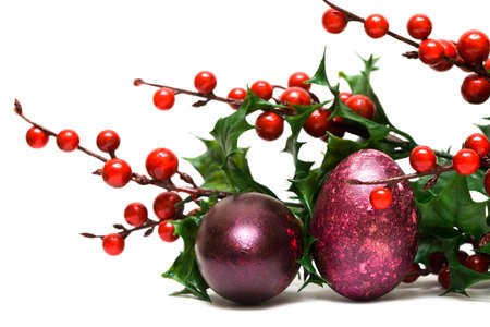 Easter egg with red berries  Stock Photo