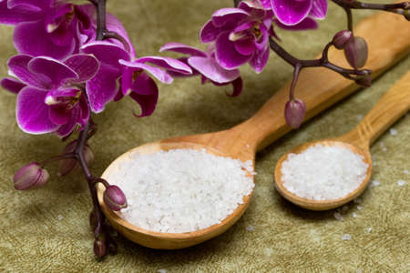 Spa essentials (bath salt in a spoon and flowers of orchids)  photo