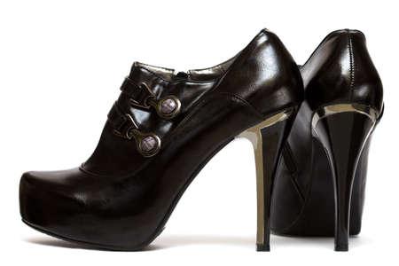 womanish: Black womanish shoes isolated on white background