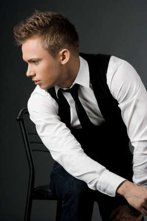 attractive businessman in black waistcoat Stock Photo - 4721966