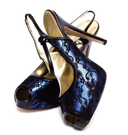 womanish: womanish shoes isolated on white background  Stock Photo