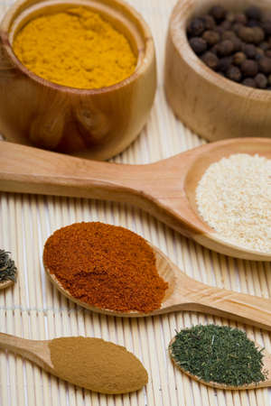 many different spices in spoons Stock Photo - 4793281