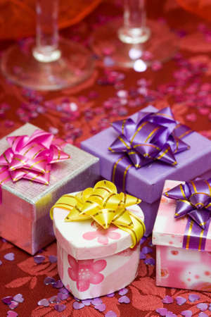 gift boxes with hearts and glass Stock Photo - 4923952