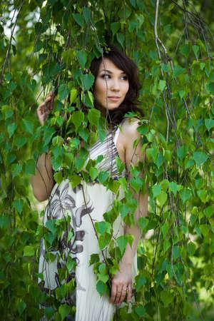 beautiful girl in a birchwood  Stock Photo - 4926444