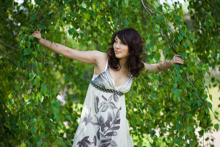 beautiful girl in a birchwood  Stock Photo - 4926497
