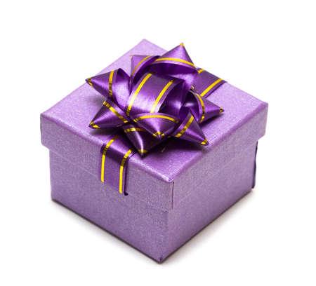 violet gift box isolated on white background  Stock Photo