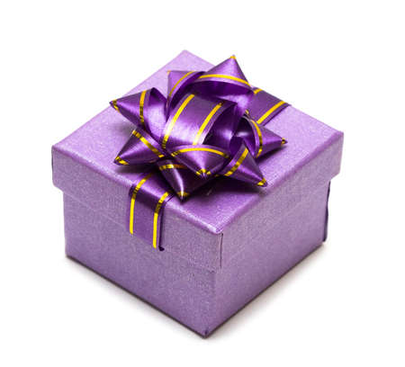heart gift box: violet gift box isolated on white background  Stock Photo