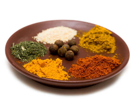 many different spices in plate Stock Photo - 5162893