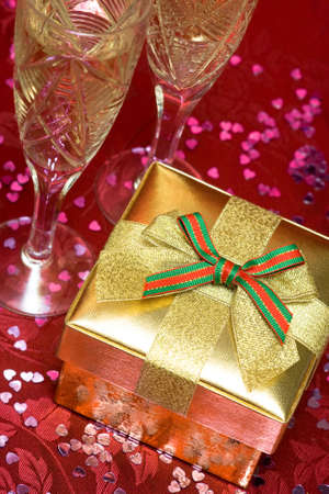 golden gift box with glass Stock Photo - 5162889