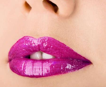 close-up of beautiful womanish lips  Фото со стока