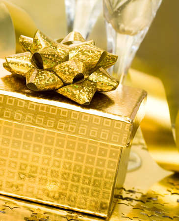 gift box with golden ribbon  Stock Photo