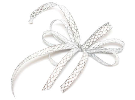 silver ribbon isolated on white background Stock Photo - 6025718