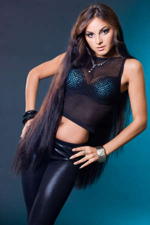 beautiful fashionable woman with long hair photo