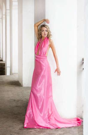 beautiful fashionable woman in pink dress Stock Photo - 6038890