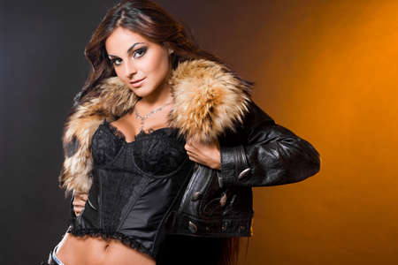 beautiful fashionable woman with fur Stock Photo - 6047482
