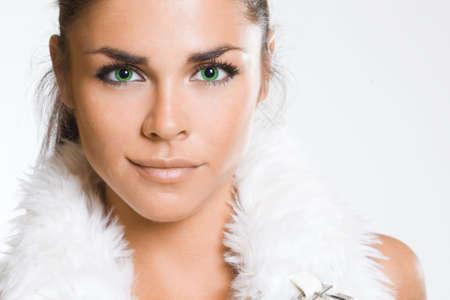 Sexy fashionable woman on white Stock Photo - 6047387