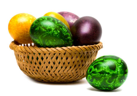 eastertime: Easter eggs in a basket  Stock Photo
