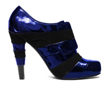 Blue womanish shoe isolated on white background Stock Photo - 6063242
