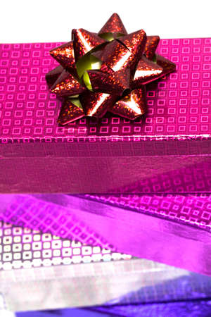 varicoloured gift boxes with bow  photo