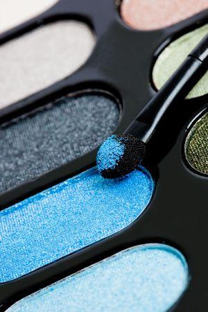 make-up eyeshadows and cosmetic brush  photo