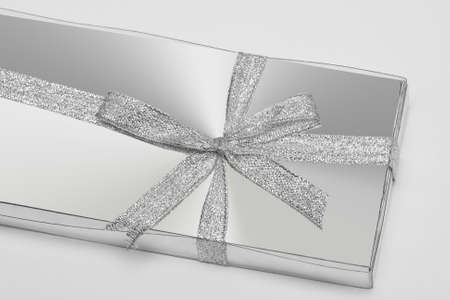 silver gift box with ribbon photo