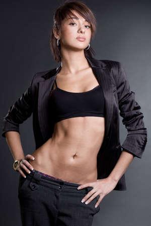nice girl on black background photo