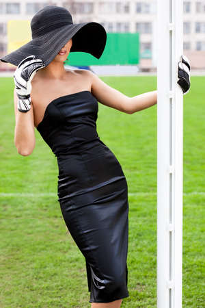 Elegant woman with Football Goalkeeper Glove photo