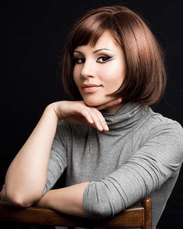 beautiful woman on black background Stock Photo - 7459723