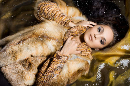 beautiful woman in a fur coat Stock Photo - 7459838