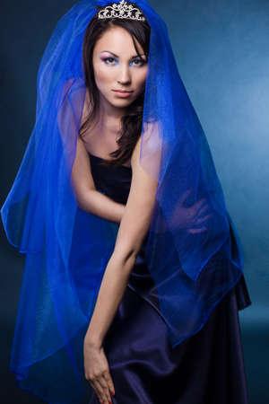 beautiful girl with diamond crown and veil  photo