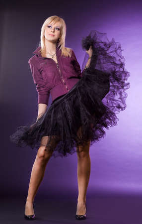 nice woman on violet background Stock Photo - 7487556