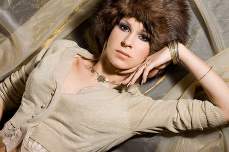 nice woman in a fur hat Stock Photo - 7487863