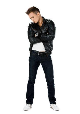 stylish men: attractive modern man in black jacket