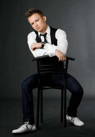attractive businessman in black waistcoat  photo