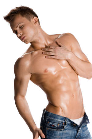 young bodybuilder man on white background photo