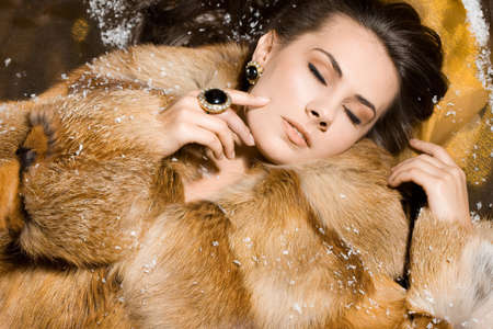 beautiful woman in a fur coat Stock Photo - 7563616